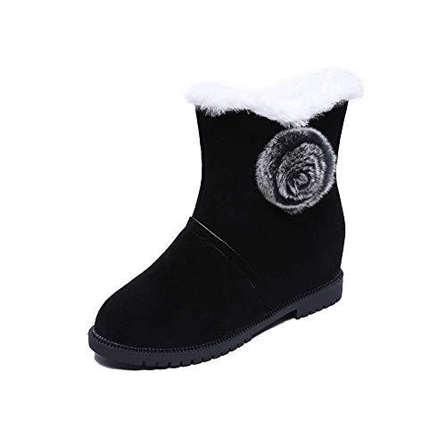 ZHRUI Frauen Stiefel, Winter Warme Wasserdichte Schneeschuhe Damen Solide Hairball Runde Kappe Stiefel Schuhe Casual Flache Ferse Rutschfeste Durable Stiefel Schuhe Mode Plattform Samt Schuhe