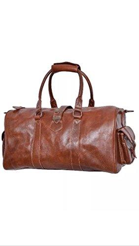 DUFFLE Burnish marrone, Borsone per Weekend da viaggio, borsa da palestra in vera pelle Burnish Brown