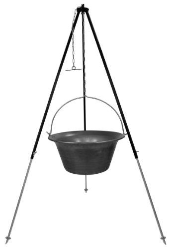 Gulaschkessel Gulaschtopf Feuertopf Set 30 Liter Eisen mit Dreibein 180 cm für Kesselgulasch