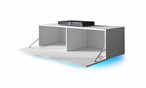 TV Schrank Lowboard Hängeboard SIMPLE mit LED Blau (Schwarz Matt / Schwarz Hochglanz 100 cm) - 2