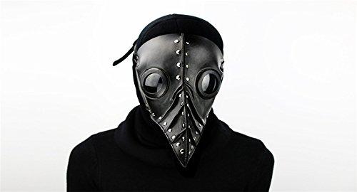 Maske PU Haut Lange Vogel Maske Halloween Cosplay Karneval Kostüm Requisiten Unisex (Pest Arzt Kostüme)