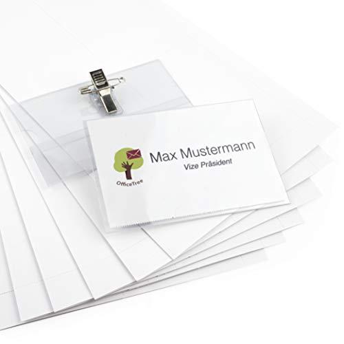 OfficeTree® 50 Premium Kunststoff Namensschilder - für Visitenkarten bis 90x55 mm - transparent - mit Halte-Clip und Ansteck-Nadel