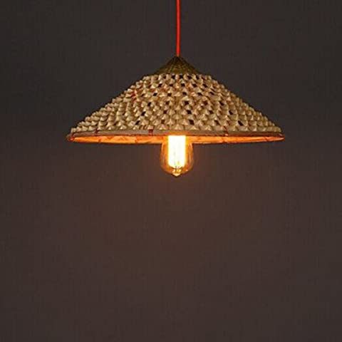 Vintage farm paja bambú lámpara lámparas araña restaurante restaurante , 220-240v