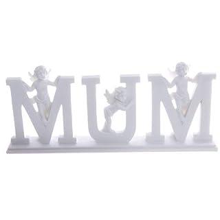 FINE GIFTS UK Buchstaben-Set MUM, ENGELFIGUREN ENGEL auf FUSS, MUTTERTAG oder GEBURTSTAG