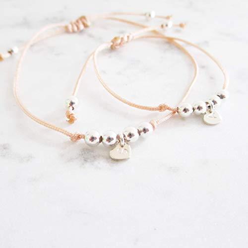 Mama & Baby Armband Set mit Herz | Personalisiert Macrameé S - Sterlingsilber Rosévergoldet | Kinderarmband Taufgeschenk