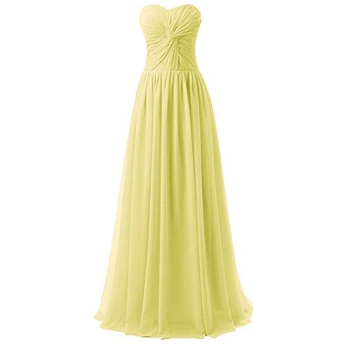 Find Dress Femme Sexy Robe de Soirée/Cocktail/Cérémonie avec Plis Robe Formelle Bustier Lacet Longue en Mousseline de Soie Jonquille