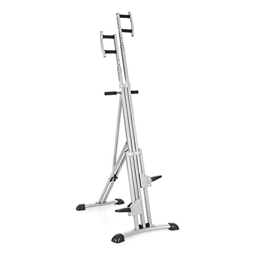 Capital Sports Climbhigh Climbing Machine Vertical Mountain Climber (Joint-Friendly Training, Adjustable Height Grips, Easy to Store) Grey