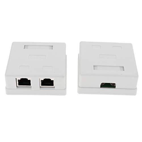 perfk 2 Pack Cat5e RJ45 Oberflächenmontage Box mit 2X RJ45 Buchsen Keystone Jack RJ45 Surface Mount Jack (Mount Box 2-Ports) - Cat5e Surface Jack