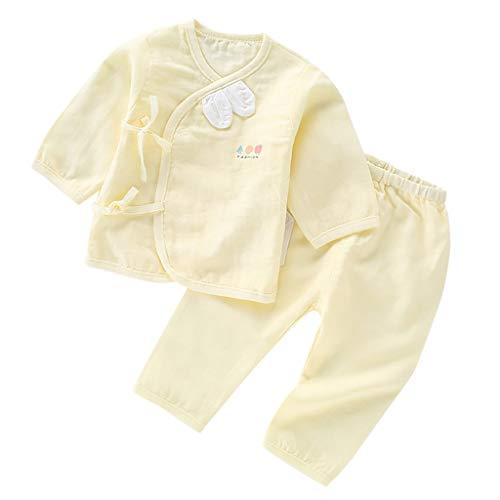 LEXUPE Prämie Reine Baumwolle Set Kleidung, Neugeborenes Baby Strampler Star Kleidung Sets, Hosen Tops Hut Cute Jumpsuit Outfit Body(Gelb,52)