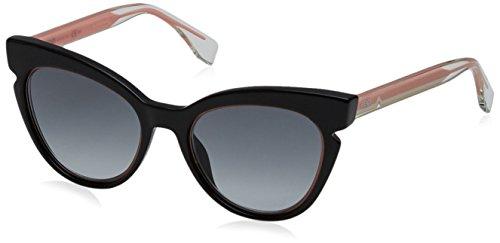 Fendi ff 0132/s jj n7a, occhiali da sole donna, nero (black crystal pink/grey sf), 51