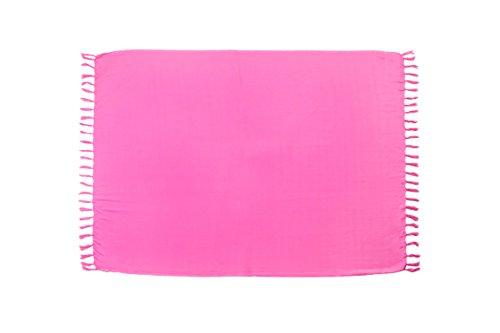MANUMAR Damen Pareo blickdicht, Sarong Strandtuch in hell-pink mit Schnalle, einfarbig, Sommer Handtuch 225x115cm XXL Übergröße, Hippie Sommer Kleid Sauna Hamam Lunghi Bikini Coverup Strandkleid