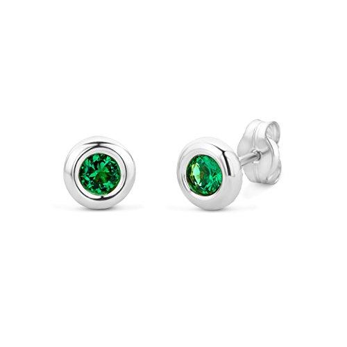 Miore Ohrringe Damen Weißgold 9 Karat / 375 Gold Ohrstecker Solitär Smaragd