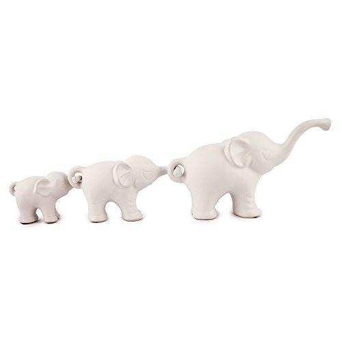 Pajoma de Elefante Trio Family II' de Porcelana, 26,5x 8,5x h 15cm