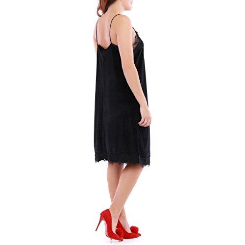La Modeuse - Robe slip dress en velours Noir