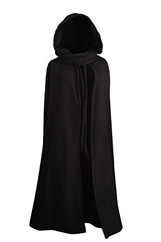 Mittelalterlicher Fleece Umhang - wärmend - schwarz L130