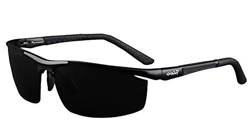 Polarisierte Sonnenbrille Herren Fahrerbrille UV 400 Schutz Metallrahmen Sport Brille Stil 1:Schwarz
