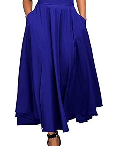 Bohai Women A-line Pleat Skirt Normal Lack High Waist Long Swing Pleat Front Slit Belted Maxi Skirt