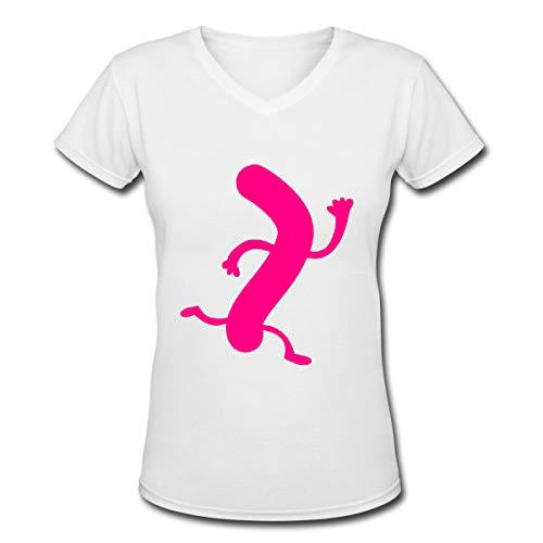 Apparel Frauen T-Shirt mit V-Ausschnitt Lässig Wiener Würstchen auf der Flucht Bedrucktes Kurzarm-T-Shirt Oberteile Trendy