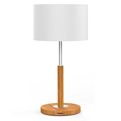 Tomons lampada da comodino classica, struttura in metallo, paralume a tamburo, lampada da tavolo con lampadina led da 4w, base in legno marrone per studio, camera da letto, soggiorno