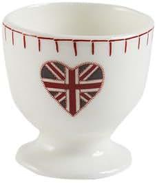 Jan Constantine Coquetier en porcelaine anglaise Motif drapeau britannique Blanc/rouge/bleu