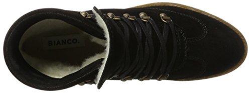 Bianco Damen Warme Wanderboots Combat Boots Schwarz (Black)