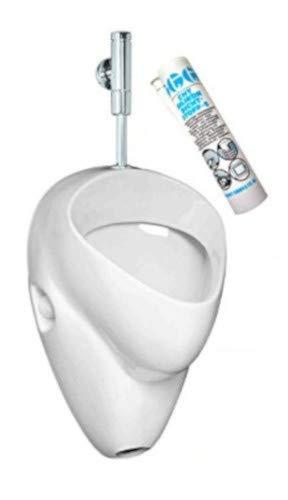 Ceravid (Keramag Gruppe) Design Urinal Set mit Druckspüler, Komplettset !! - mit Schell Armatur, Beschichtung, Befestigung, Silikon!