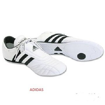 Scarpe Adidas pelle per taekwondo, SM2 con strisce nere Bianco/Nero