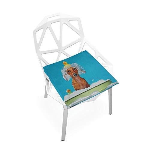Hund In Bad Benutzerdefinierte Weiche Rutschfeste Quadratische Memory Foam Chair Pads Kissen Sitz Für Home Kitchen Esszimmer Büro Schreibtisch Möbel Innen 16x16 Zoll -