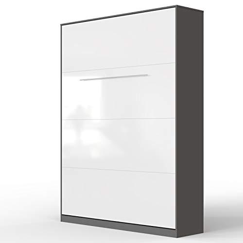 SMARTBett Standard 140x200 Vertikal Anthrazit/Weiss Hochglanzfront Schrankbett | ausklappbares Wandbett, ideal geeignet als Wandklappbett fürs Gästezimmer, Büro, Wohnzimmer, Schlafzimmer