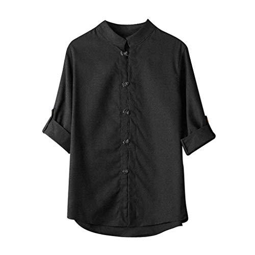 WUSIKY Oversize Tshirt Herren Hemd Kurzarm Chinesisches Kung Fu Hemd Tops Tang Anzug 3/4 ÄRmel Leinen T Shirts Männer Hemden (Schwarz, 3XL)