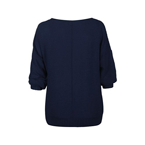 Manadlian Femmes Chandail Manches Chauve-Souris Pull Tricoté Pull Tops Tricots bleu marin