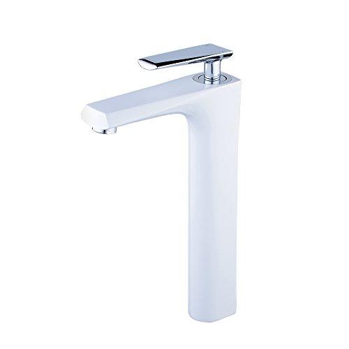 Beelee BL6780CWH Waschbecken Wasserhähne Hohe Wasserhahn für Waschbecken massiv Messing, Hebel Wasserhahn, Malerei weiß + Chrom (Basin Mixer Centerset)