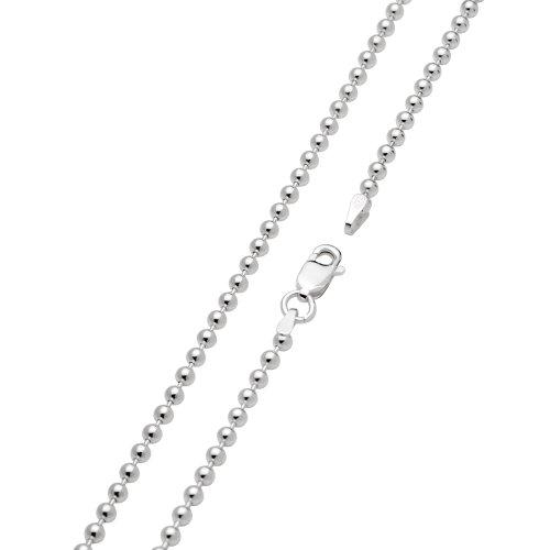 Vinani Kugelkette Charm-Anhänger Kette Italien hochwertig Sterling Silber 925 2,5 mm 70 cm Ballchain BC2570