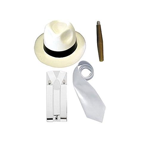 Costume de gangster - chapeau, cravate, bretelles et cigare - homme - blanc