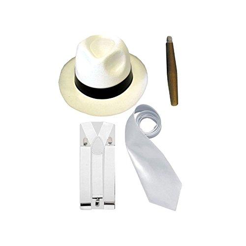 ren - Hut/Krawatte/Hosenträger/Zigarre - 20er Jahre - Weiß (20er Jahre Kostüme)