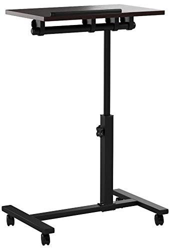 Relaxdays Laptoptisch höhenverstellbar, Laptopständer Holz, mit Rollen, drehbar, HxBxT: 95 x 60 x 40,5 cm, schwarz