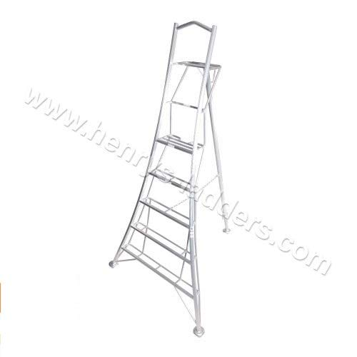 Henrys Tripod Garden Ladders with Built-in Platform by Henchman 8' Semi (1 Leg) Adjustable. Lightweight Aluminium Garden Maintenance, Hedge Cutting, Fruit Picking, Tree Trimming, Topiary Ladder.