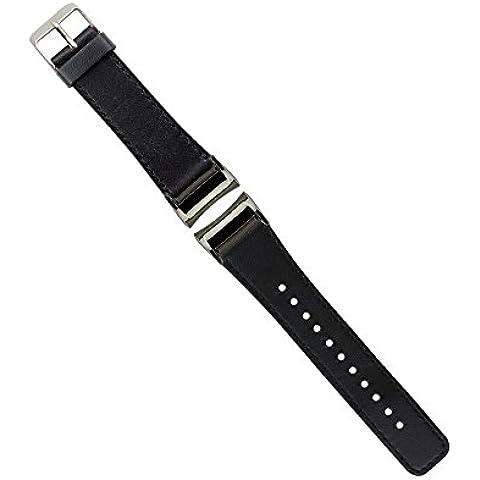 Samsung Gear Fit 2 Cinturino, Moonmini® Genuino cuoio cinturino Bracciale wrist Strap con l'adattatore per Samsung Gear Fit 2 Nero