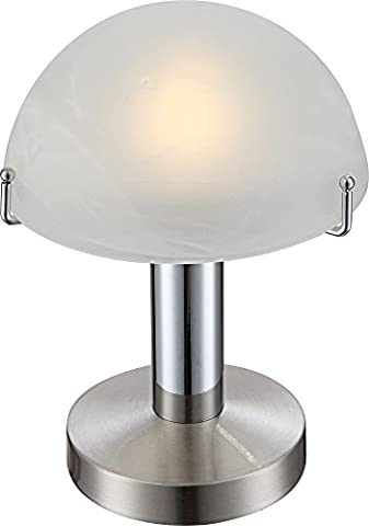 Zeitlose LED Tischleuchte nickel matt, chrom Glas in alabasteroptik weiß, Halbkugel 3W Globo OTTI 21934