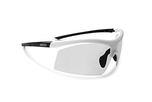 Radbrille Selbsttönend Polarisiert – Fahrradbrille Photochrome Sportbrille Sonnenbrille Ski Laufen Golf Running by Snatch Italy (Mat Weiß / Shiny Schwarz, Photochromen)