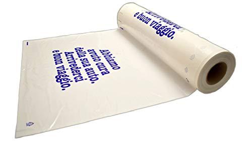 Bobine coprisedili da Officina in plastica Bianca, 125 Pezzi USA e Getta con Stampa di cortesia in Colore Blu. Spessore 30 Micron.