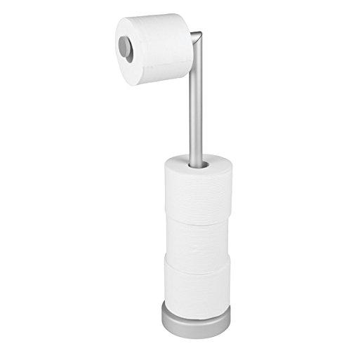mDesign portarrollos de pie - Elegante dispensador de papel de acero inoxidable - Portarrollos baño para 5 rollos color plateado