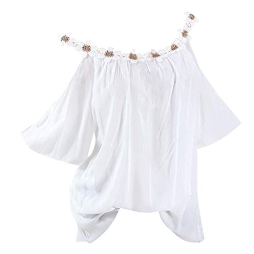 Strass Baumwolle, Elasthan (Bringbring Damen Bluse Einfarbig Schulterfrei Kurzarm Damenblusen Tunika Blusenshirt Hemd Elegant Oberteile Tops T-Shirt)