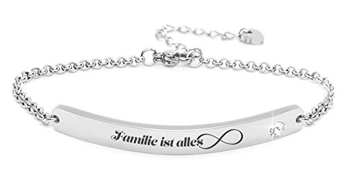 """Silvity Damen Gravur-Armband Edenlstahl veredelt mit einem Swarovski¨ Kristall 16,5 cm bis 20,5 cm Frabe: Silber (Motiv:""""Familie ist alles"""")"""