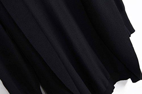 Smile YKK Sarrau Uni Manteau Trocots Cardigan Coton Manches Longue de Soleil Femme Noir