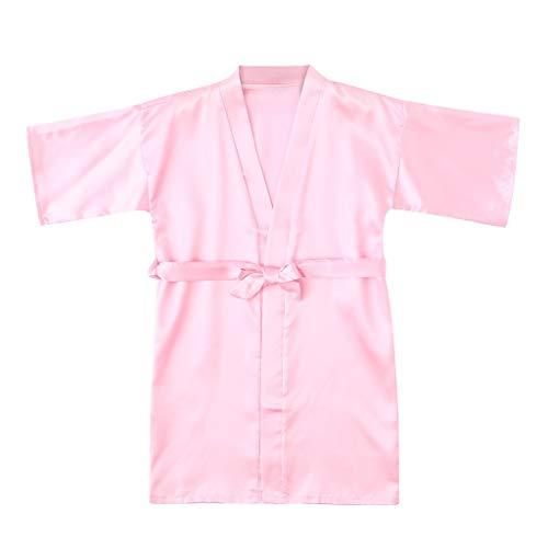 feiXIANG Kleinkind Kimono Roben Mädchen Bademantel Solid Kinder Nachtwäsche Kleidung Schlafanzug (Rosa,18-24 (Basketball Outfits Für Kleinkind)