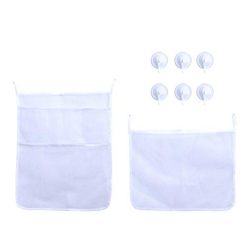 BESTOMZ 2 x organisateur de jouet de bain - sac de rangement de maille de jouet de bébé pour des jouets de brosses de serviettes, organisateur rapide de sac de maille de baignoire de sèche-linge + 6 crochets ultra forts