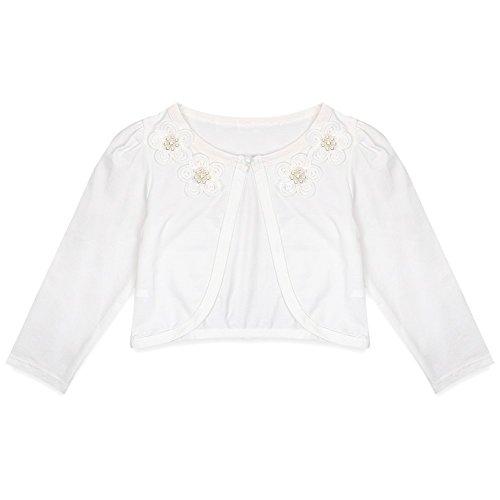 Freebily Mädchen Strickjacke Bolero Cape Kinder Lange Ärmel Schulterjacke Bolerojäckche Pullover festlich weiß/rosa in Größe 86-140 #1 Elfenbein/Blumen 98-104