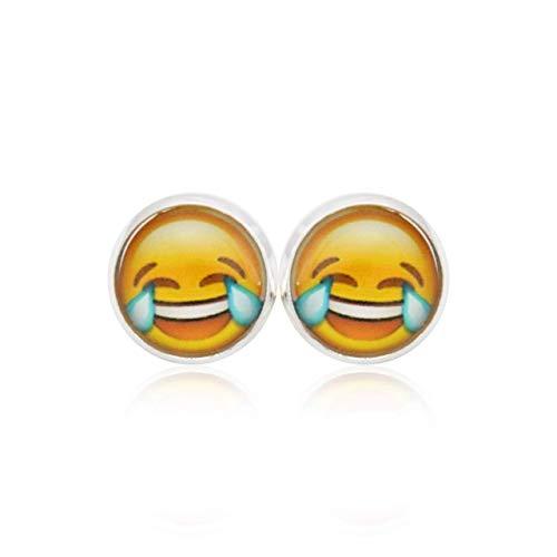 Versilberte Ohrstecker | Ohrringe Smiley, Icon Emoji lachend Tränen