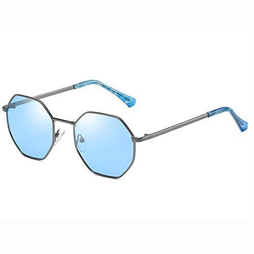 Easy Go Shopping Runde Sonnenbrille Für Männer Damenmode Große Metall Aviator Spiegel UV400 Linse (Farbe : Blau, Größe : Casual Size)